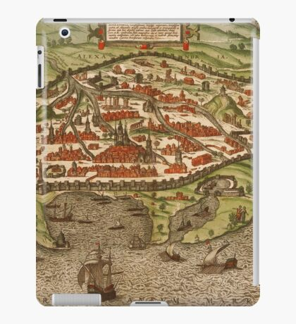 Alexandria Vintage map.Geography Egypt ,city view,building,political,Lithography,historical fashion,geo design,Cartography,Country,Science,history,urban iPad Case/Skin