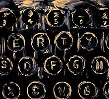Vintage Typewriter Keyboard Keys Black And White Original Acrylic Artwork by JamesPeart