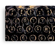 Vintage Typewriter Keyboard Keys Black And White Original Acrylic Artwork Canvas Print