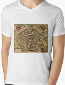Aachen Vintage map.Geography Germany ,city view,building,political,Lithography,historical fashion,geo design,cartography,Country,Science,history,urban Mens V-Neck T-Shirt