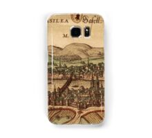 Basel Vintage map.Geography Switzerland ,city view,building,political,Lithography,historical fashion,geo design,Cartography,Country,Science,history,urban Samsung Galaxy Case/Skin
