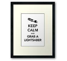 Keep Calm Lightsaber Framed Print