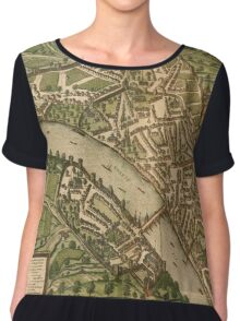Basel 2 Vintage map.Geography Switzerland ,city view,building,political,Lithography,historical fashion,geo design,Cartography,Country,Science,history,urban Chiffon Top