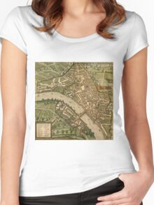 Basel 2 Vintage map.Geography Switzerland ,city view,building,political,Lithography,historical fashion,geo design,Cartography,Country,Science,history,urban Women's Fitted Scoop T-Shirt