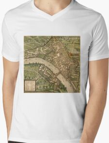 Basel 2 Vintage map.Geography Switzerland ,city view,building,political,Lithography,historical fashion,geo design,Cartography,Country,Science,history,urban Mens V-Neck T-Shirt