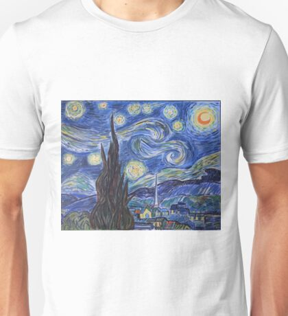 Starry Night, art by Van Gogh. Acrylic painting, reproducton Unisex T-Shirt