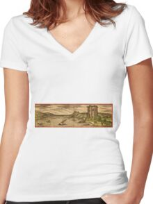 Baia Vintage map.Geography Italy ,city view,building,political,Lithography,historical fashion,geo design,Cartography,Country,Science,history,urban Women's Fitted V-Neck T-Shirt