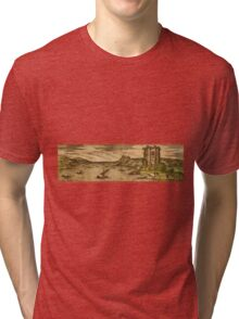 Baia Vintage map.Geography Italy ,city view,building,political,Lithography,historical fashion,geo design,Cartography,Country,Science,history,urban Tri-blend T-Shirt