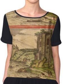 Baia Vintage map.Geography Italy ,city view,building,political,Lithography,historical fashion,geo design,Cartography,Country,Science,history,urban Women's Chiffon Top