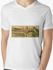 Azemmour Vintage map.Geography Morocco ,city view,building,political,Lithography,historical fashion,geo design,Cartography,Country,Science,history,urban Mens V-Neck T-Shirt