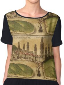 Azemmour Vintage map.Geography Morocco ,city view,building,political,Lithography,historical fashion,geo design,Cartography,Country,Science,history,urban Chiffon Top