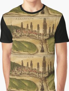 Azemmour Vintage map.Geography Morocco ,city view,building,political,Lithography,historical fashion,geo design,Cartography,Country,Science,history,urban Graphic T-Shirt