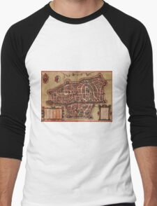 Augsburg Vintage map.Geography Germany ,city view,building,political,Lithography,historical fashion,geo design,Cartography,Country,Science,history,urban Men's Baseball ¾ T-Shirt