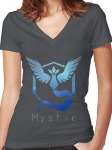 Team Mystic Galaxy Print - Thin Text (Pokemon Go) Women's Fitted V-Neck T-Shirt