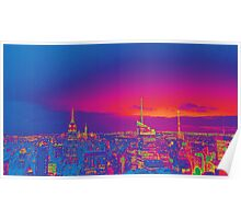 NYC Skyline Neon Poster