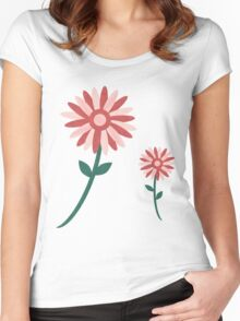 Curved tree branch with fantastic flowers Women's Fitted Scoop T-Shirt