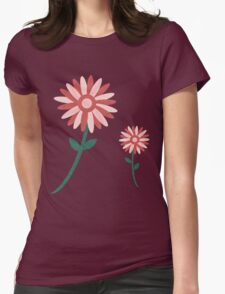 Curved tree branch with fantastic flowers Womens Fitted T-Shirt