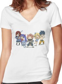 fairytails strongest team  Women's Fitted V-Neck T-Shirt
