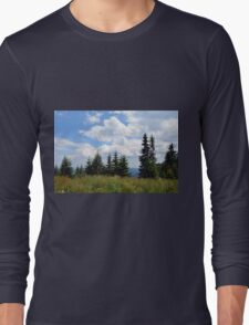 Natural scenery with trees and cloudy sky. Long Sleeve T-Shirt