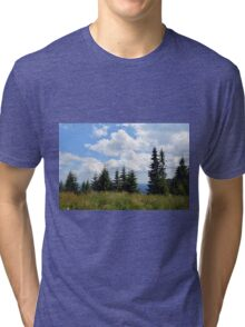 Natural scenery with trees and cloudy sky. Tri-blend T-Shirt