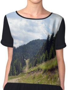 Natural mountains scenery with trees and cloudy sky. Women's Chiffon Top