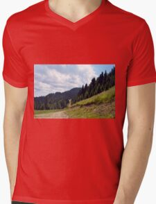 Natural mountains scenery with trees and cloudy sky. Mens V-Neck T-Shirt