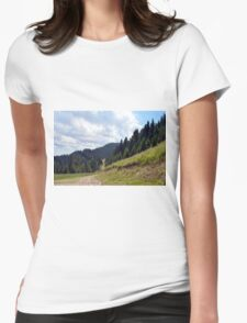 Natural mountains scenery with trees and cloudy sky. Womens Fitted T-Shirt