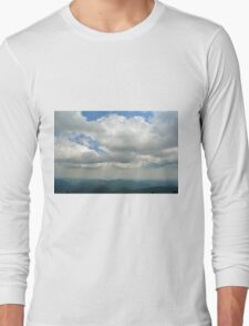 Natural mountains scenery with trees and cloudy sky. Long Sleeve T-Shirt