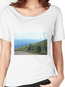 Natural mountains scenery with trees and cloudy sky. Women's Relaxed Fit T-Shirt
