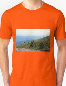 Natural mountains scenery with trees and cloudy sky. Unisex T-Shirt