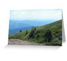 Natural mountains scenery with trees and cloudy sky. Greeting Card
