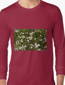 Natural pattern with white small flowers in the grass. Long Sleeve T-Shirt