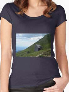 Abandoned house in the mountains with cloudy sky. Women's Fitted Scoop T-Shirt