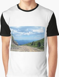 Natural mountains scenery with trees and cloudy sky. Graphic T-Shirt
