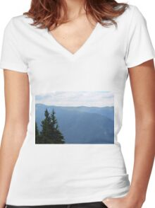 Natural mountains scenery with trees and cloudy sky. Women's Fitted V-Neck T-Shirt