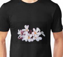 Frangipani / plumeria on black Unisex T-Shirt