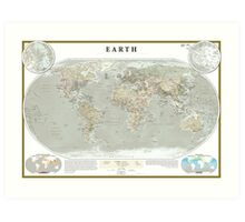 Antique World Map of Human Influence Art Print