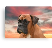 Cute Boxer Dog Water Color Oil Painting Art Canvas Print