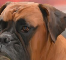 Cute Boxer Dog Water Color Oil Painting Art Sticker