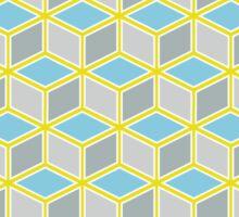 Tumbling Blocks, Yellow/Blue Sticker