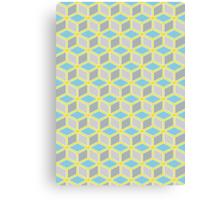 Tumbling Blocks, Yellow/Blue Canvas Print