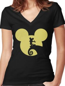 Mickey Skellington Women's Fitted V-Neck T-Shirt