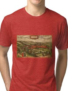 Blamont Vintage map.Geography France ,city view,building,political,Lithography,historical fashion,geo design,Cartography,Country,Science,history,urban Tri-blend T-Shirt