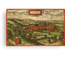 Blamont Vintage map.Geography France ,city view,building,political,Lithography,historical fashion,geo design,Cartography,Country,Science,history,urban Canvas Print