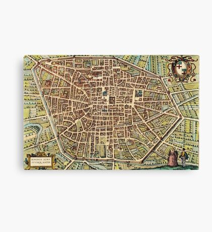 Bologna Vintage map.Geography Italy ,city view,building,political,Lithography,historical fashion,geo design,Cartography,Country,Science,history,urban Canvas Print