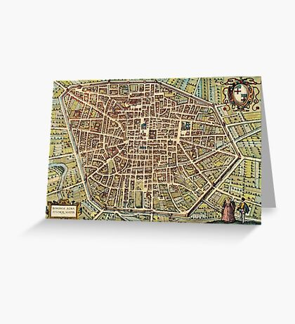 Bologna Vintage map.Geography Italy ,city view,building,political,Lithography,historical fashion,geo design,Cartography,Country,Science,history,urban Greeting Card