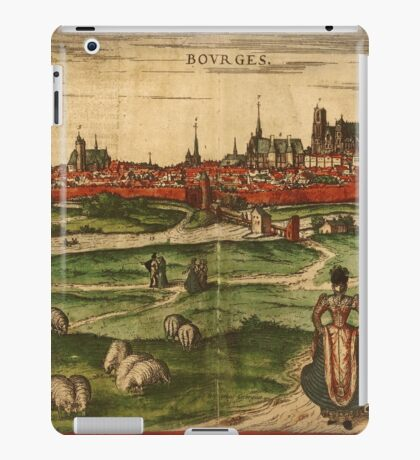 Bourges Vintage map.Geography France ,city view,building,political,Lithography,historical fashion,geo design,Cartography,Country,Science,history,urban iPad Case/Skin