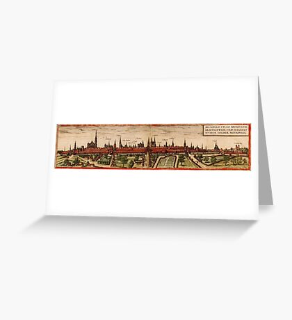 Braunschweig Vintage map.Geography Germany ,city view,building,political,Lithography,historical fashion,geo design,Cartography,Country,Science,history,urban Greeting Card