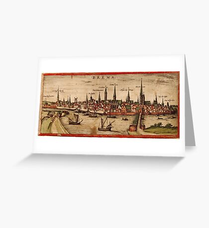 Bremen Vintage map.Geography Germany ,city view,building,political,Lithography,historical fashion,geo design,Cartography,Country,Science,history,urban Greeting Card