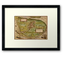 Brielle Vintage map.Geography Netherlands ,city view,building,political,Lithography,historical fashion,geo design,Cartography,Country,Science,history,urban Framed Print